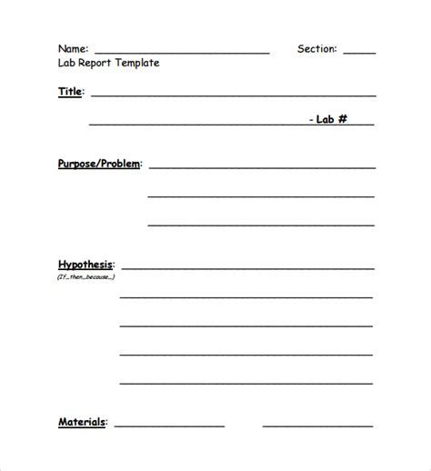 lab report template 10 sle lab reports sle templates