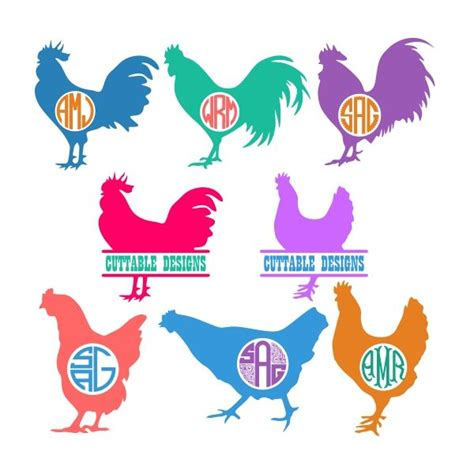 chicken cuttable frame cut file vector clipart digital scrapbooking download available in