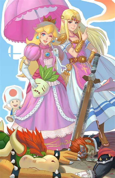 princess zelda, princess peach, bowser, ganondorf, and ...