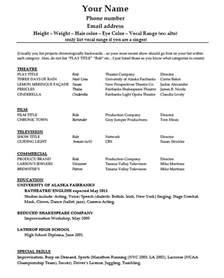 Resume Templat Acting Résumé Template Pdf Word Wikidownload