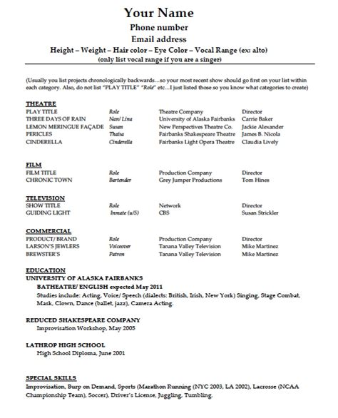 acting resume template  word wikidownload