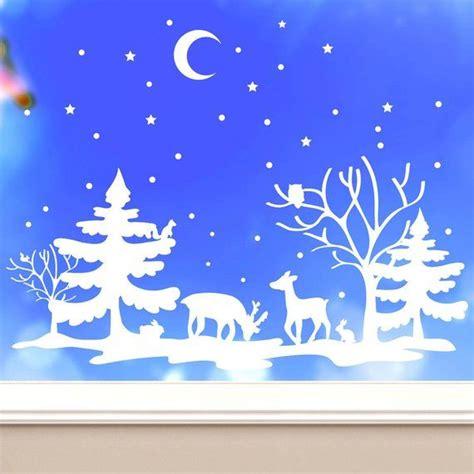 fensterbild rentiere weihnachten weiss aufkleber winter
