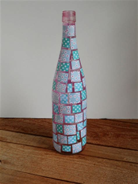 decoupaged mosaic wine bottle favecraftscom