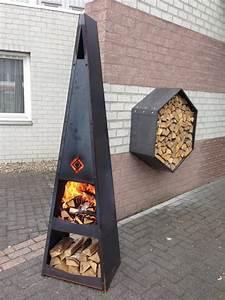 Feuerstelle Für Terrasse : kegelf rmige feuerstelle f r garten und terrasse inkluviser stauraum outdoor activities ~ Markanthonyermac.com Haus und Dekorationen