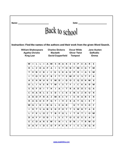 word search back to school worksheets back to school