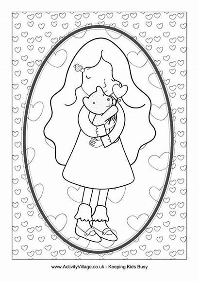 Colouring Hug Pages Teddy Bear Father Colour