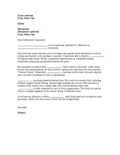 Letter Of Recommendation Template For College Admission by Recommendation Letter For College Admission Letter Of