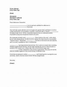 recommendation letter for college admission letter of With letter of recommendation template for college admission