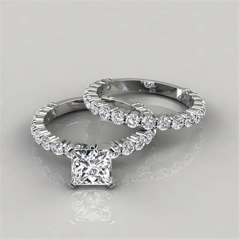 wedding bands for princess cut rings princess cut shared prong engagement ring and wedding band