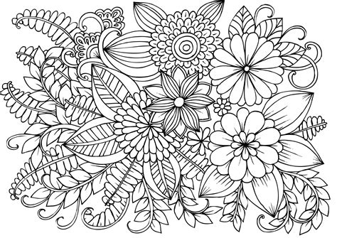 Very Detailed Flowers Coloring Pages for Adults Hard to