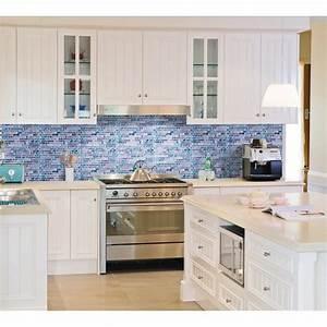 grey marble stone blue glass mosaic tiles backsplash With kitchen back splashes with blue