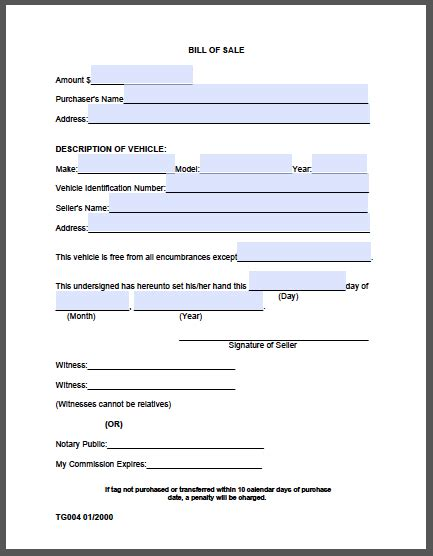 Bill Of Sale Template Pdf Bill Of Sale Form County Free Fillable Pdf