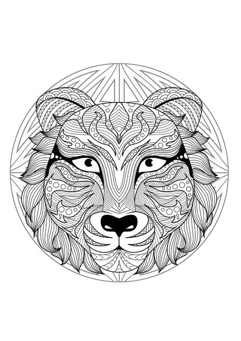 mandala  beautiful wolf head  geometric patterns