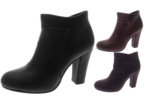 Womens Faux Leather High Block Heel Ankle Boots Platforms