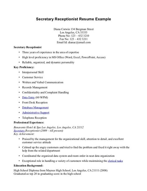 Resume Objective For Receptionist by Free Sle Of Resume For Receptionist Resume Format