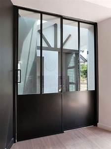 porte double vantaux coulissant a galandage verrieres d With porte de garage coulissante avec porte intérieure vitrée sur mesure