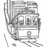 Tramway Train Coloring Locomotive Transport Coloriages Transports Coloriage Tram Album Transportation Drawing Drawings Printable sketch template