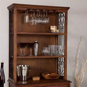 Dark, Oak, Wood, Finish, Bakers, Rack, Server, With, Wine, Storage, Hutch