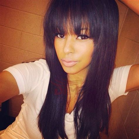 Sew In Weave Hairstyles With Side Bangs by Cheap Human Hair Wig With Bangs Silky