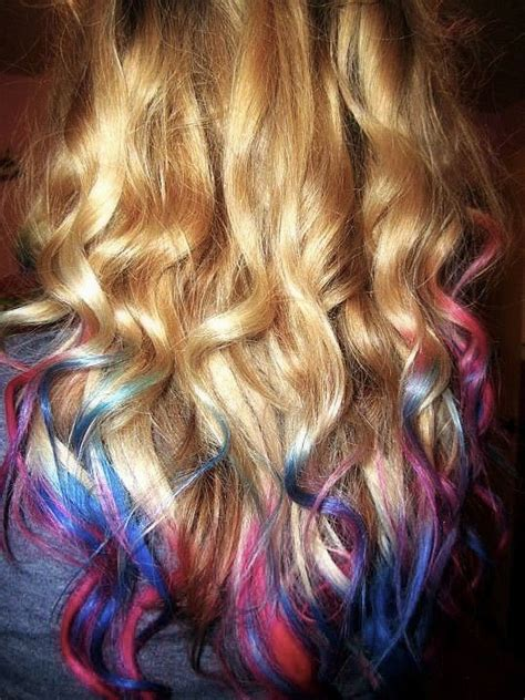 Blonde Hair With Pink Tips Curly Blonde Dip Dyed Blue