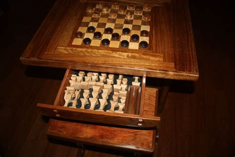 Custom Chess Table And Benches W/ Chessmen And Checkers by