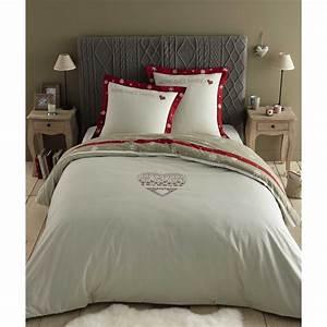 Parure De Lit Rouge : parure de lit 220 x 240 cm en coton blanche rouge alpaga ~ Teatrodelosmanantiales.com Idées de Décoration