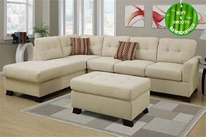 poundex f7926 beige fabric sectional sofa and ottoman With sectional sofa with recliner and ottoman
