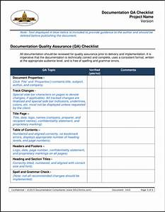 sdlcforms documentation qa checklist template With document quality checklist