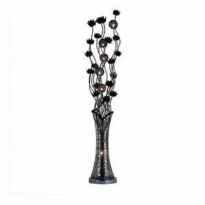 Black flower metal floor lamp for Homebase chandelier floor lamp