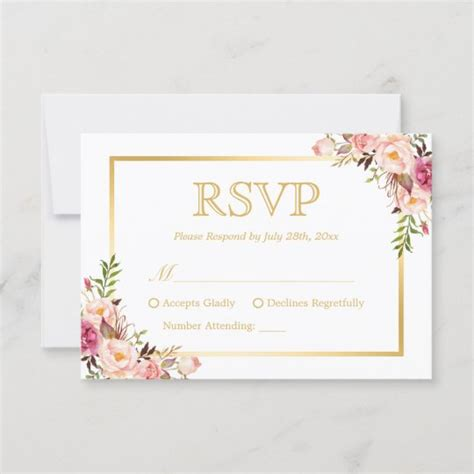 Elegant Chic Gold Pink Floral Wedding RSVP Reply Zazzle ca