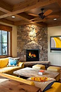 Stone Corner Fireplace Family Room Rustic With Ceiling Fan