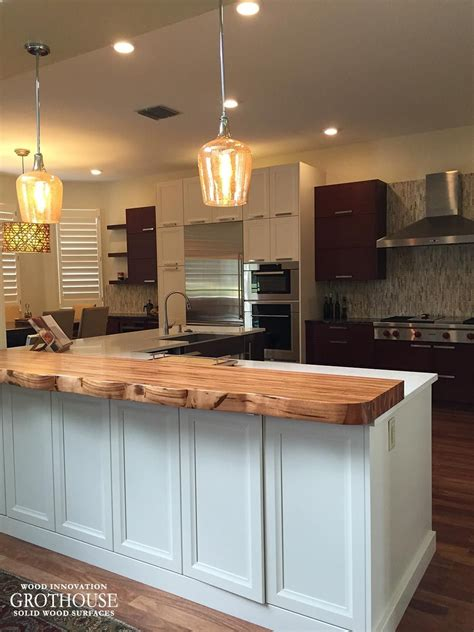 Kitchen Counter Add On by Faux Live Edge Tigerwood Countertop With One Custom