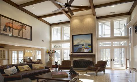 High Ceiling Living Room by Rustic Living Large High Ceiling Living Room High