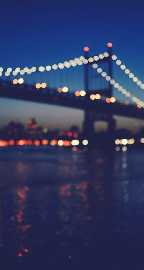 york city manhattan bridge night light bokeh