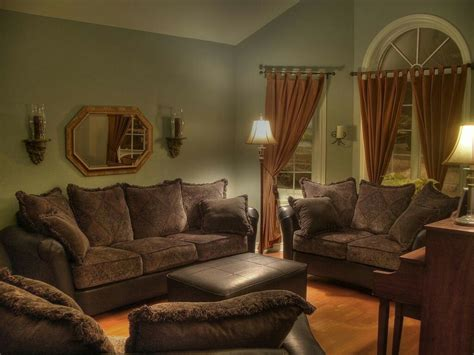 green walls chocolate couches peanut butter drapes