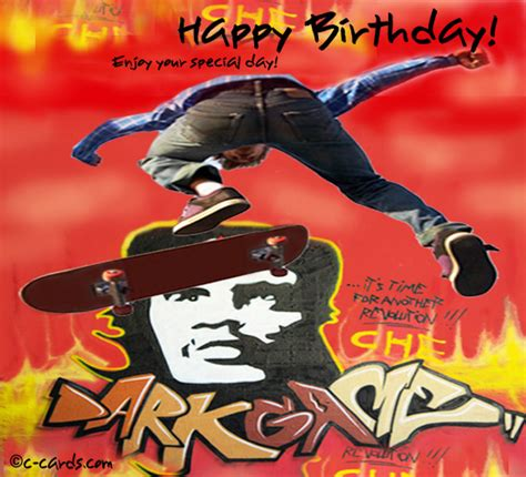 skateboarder  happy birthday ecards greeting cards