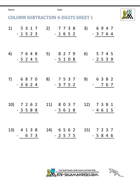 three digit subtraction math worksheet 4 digit subtraction worksheets