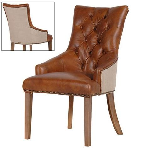 light brown leather linen dining chair shropshire design