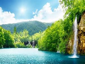 Nature, Waterfall, Summer, Lake, Trees, Hd, Wallpaper, 87432
