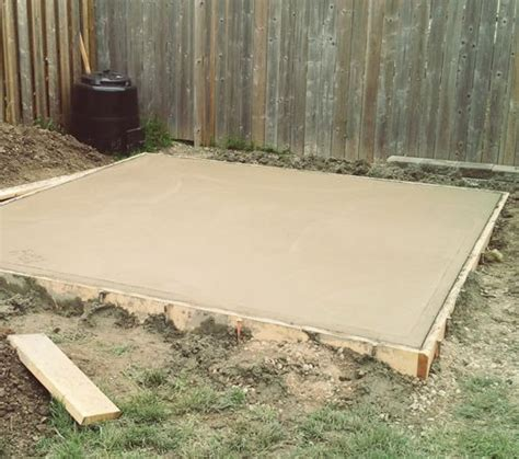 concrete slab for shed base how to pour a concrete pad for a shed home decor