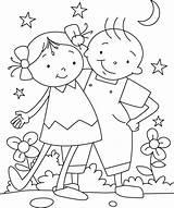 Coloring Friendship Bestfriend Having Fun sketch template
