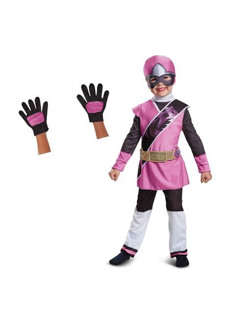 pink power ranger toddler girls costume  gloves set
