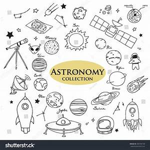 Handdrawn Doodles Astronomy Objects Planets Rockets Stock ...