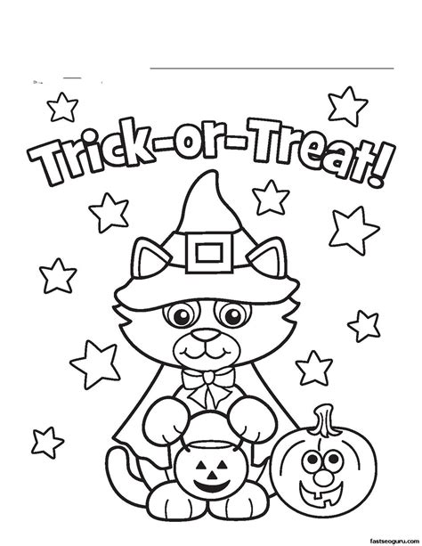 Halloween Cat Coloring Pages Getcoloringpagescom