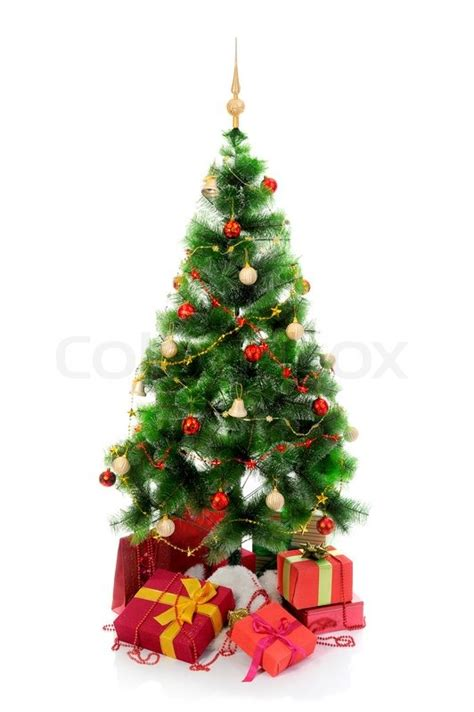 christmas tree  heap  red gift boxes decorated