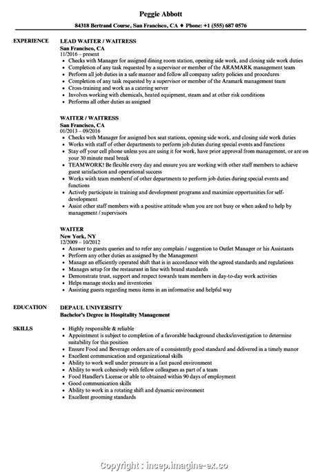 Maitre D Resume Template by New Waitress Resume Summary Resume For A Waiter Incep