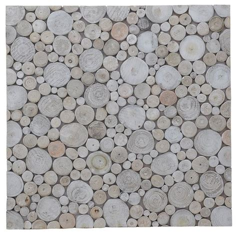 riverbed mosaic pearl teak wall tiles set of 6 16 54 quot x16