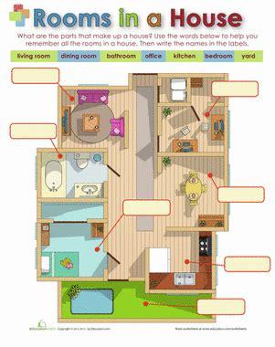 rooms   house worksheet educationcom