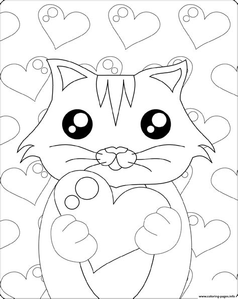 cute kitten  heart st valentines coloring pages printable