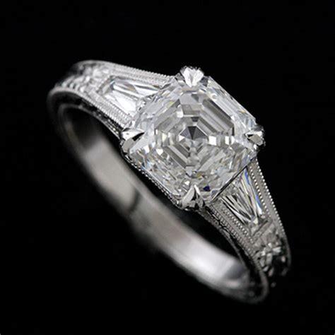 platinum unique deco style engagement ring asscher cut engraved orospot